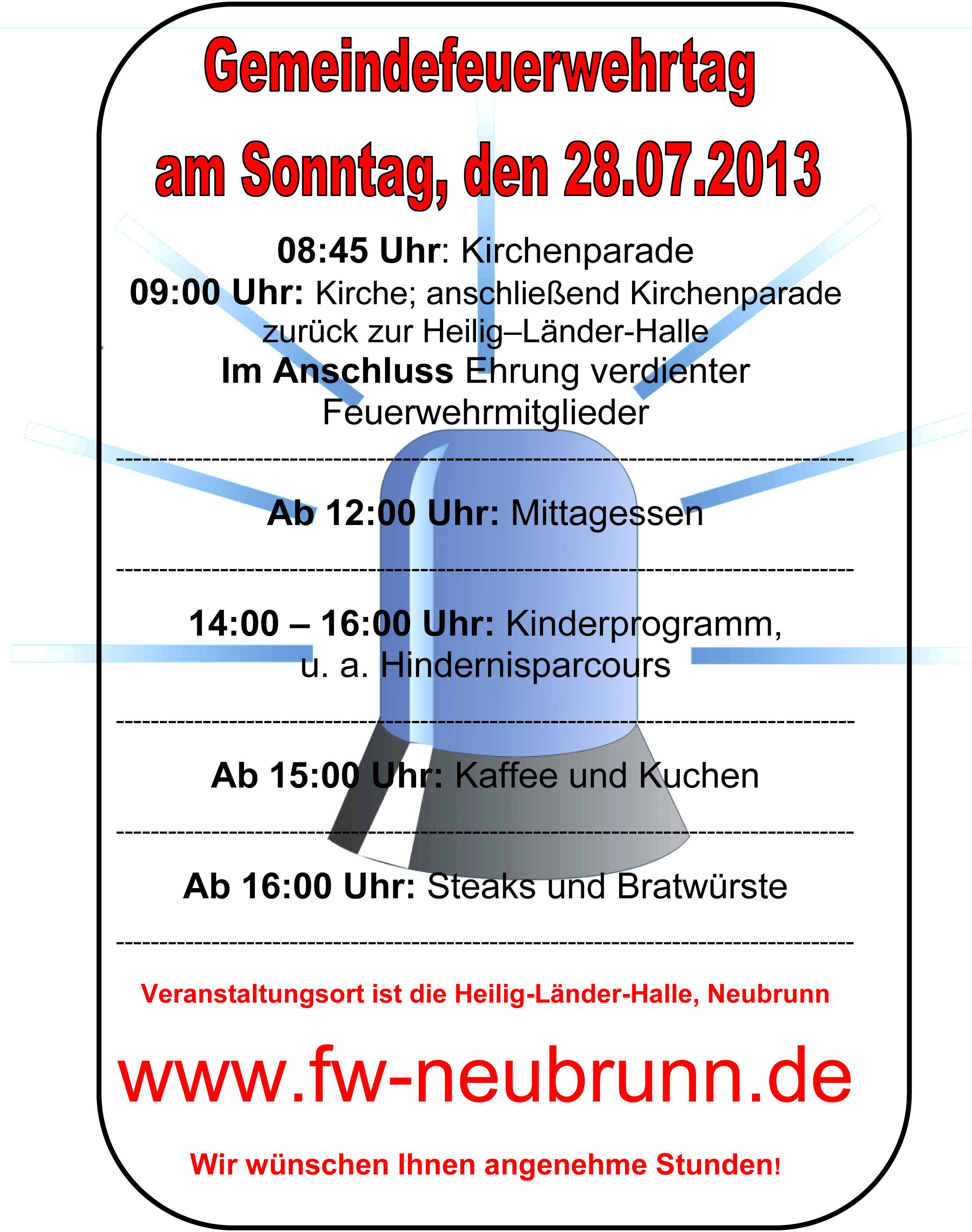 Gemeindefeuerwehrtag Plakat 2013
